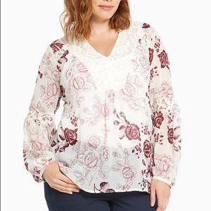 Floral Print Chiffon Lace Inset Top